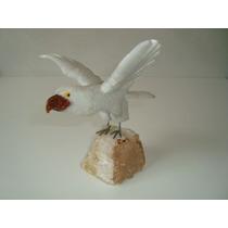 Pássaro Águia Falcão Em Pedra Natural Quartzo Branco Mármore