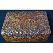 Caixa Porta Jóia Madeira Antiga Entalhada A Mão 15x10x6,5cm
