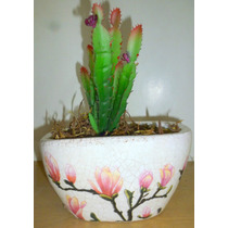 *258* Floreira Com Arranjo De Flores Artificiais Cactus