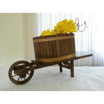 Porta Flores, Orquideas-carrinho De Mão Artesanat Em Madeira