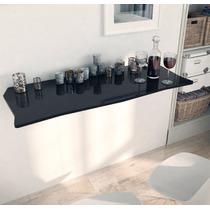 Mesa Dobrável Para Cozinha Lanche Rápido Mdf Preto Brilho