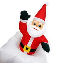 Papai Noel Na Chamine Natal Sobe Desce Inflavel Eletrico