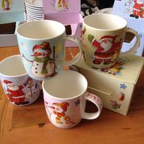 4 Canecas Porcelana De Natal Alta Qualidade