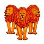 Escultura Trio Leões De Parede Orange Fullway