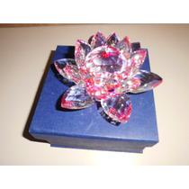 Flor De Lotus Cristal Rosa Medindo 14cms Na Cx P/presentear