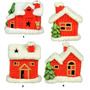 Enfeite Natal Cerâmica - 1 Led - Casinha Vermelha Papai Noel