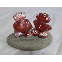 Bibelô - Bonecos De Pedra Ágata Com Base De Granito
