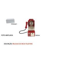 Relógio De Mesa Em Miniatura Telefone Antigo Em Aço