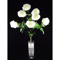3 Buquês Rosas Grandes - Maços Flores Artificiais Arranjos