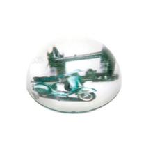 Peso De Mesa Lambretta Azul Em Vidro