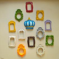 Conjunto Mini Espelhos E Coroa Real De Parede ( 13 Pçs).