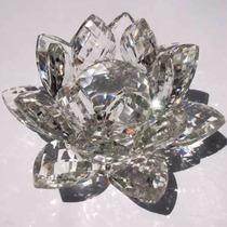 Flor De Lótus De Cristal Transparente Brilhante 11cm