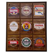 Quadro Coleção De Cervejas Em Auto Relevo Decoração De Bar