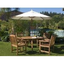 Ombrelone Branco Para Conjunto Mesa E Cadeiras & Pergolado