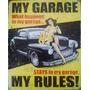 Quadro Garagem Vintage Retrô Estilo Placa De Mdf Adesivada