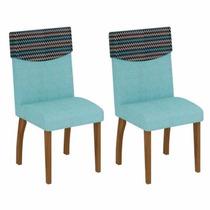 Kit 2 Cadeiras Decorativas Estofada Sala De Jantar