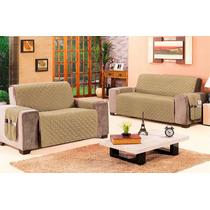 Protetor Sofá 2 E 3 Lugares - Com Porta Objetos Em 05 Cores