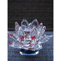 Flor De Lótus De Cristal Transparente Vermelha 10cm