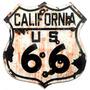 Placa Route 66 California Ferrugem Tiro 33x30cm Polietileno