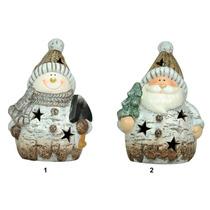 Enfeite Natal Cerâmica - 1 Led - Boneco De Neve E Papai Noel