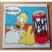 Quadro Bar Churrasqueira Duff Homer Simpson Imita Azulejo