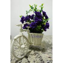 Delicado Arranjo Provençal Flores Artificiais Vaso Bicicleta