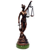 Estatua Deusa Da Justiça Bronze Fino Acabamento 34 Cm