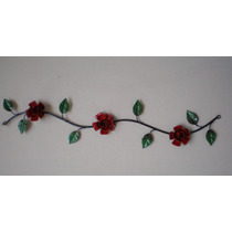 Ca022b - Enfeite De Parede Em Ferro Rama 3 Flores - Arte Mg