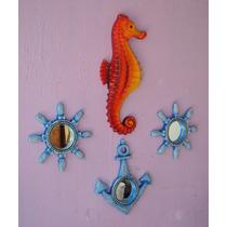 Conjunto Espelhos Náuticos E Cavalo Marinho De Parede(04pçs)
