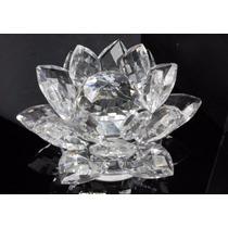 Flor De Lótus Em Cristal Transparente - 15,5cm