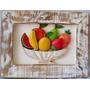 Quadro De Frutas Tipo Fruteira Entalhado E Pintado Minas Art