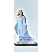 Escultura Iemanja Rainha Do Mar Com 60cm Vestido Branco/azul