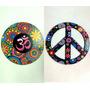 2 Placas Hippie Paz E Amor Símbolo Om Mandala Mdf
