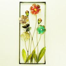 Decoração Parede Quadro Flores Escultura Metálica Borboleta