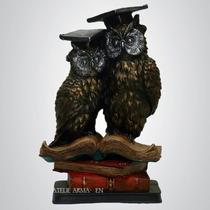 Corujas Com Livros - Escultura Estátua Estatueta