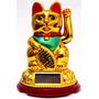 Gato Sorte Maneki Neko Dourado Japão Japonês Presente Decora
