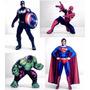 4 Bonecos Mdf Homem Aranha Hulk Superman Capitão América