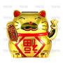 Gato Da Sorte Maneki Neko Dourado Chines Japones China Solar