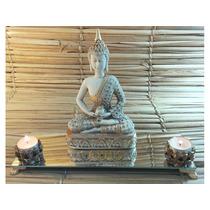 Buda Altar Hindu Espelho Incenso Aparador Castiçal Velas +