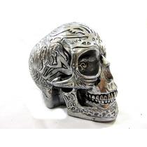 Crânio Tribal Inca Prata Envelhecido Metálico Tatoo Hallow