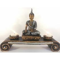 Buda Aparador Hindu Incensário Castiçal Velas Espelhado +