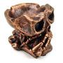 Cinzeiro Decorativo Cor Bronze - Caveira Cigarro Em Resina
