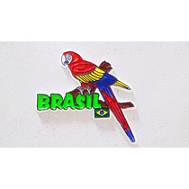 Imã Geladeira Emborrachado Pássaro Arara Brasil/ Souvenir