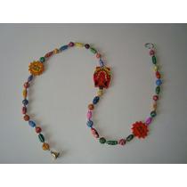 Móbile Indiano Sol Ganesh Madeira Contas Cerâmica Coloridas
