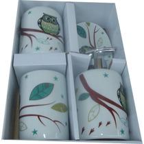 Jogo Banheiro Coruja Porcelana Vintage - Kit Higiene -retrô