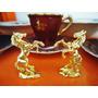 Belo Par Miniatura Cavalo Empinado Dourado Frete Grátis