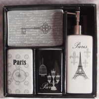 Jogo Banheiro Porcelana Paris - Kit Higiêne - Ganhe Brinde