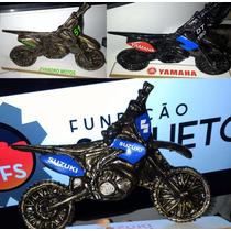 Decoração, Arte Fundição, Mini Moto Motocross Em Alumínio