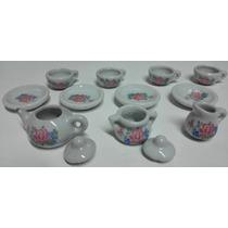 Miniatura Enfeite Jogo De Chá Porcelana C/ 11 Peças - Lindo!