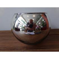 Vaso Cachepot Cachepo Vidro Espelhado Cromo 18 Cm